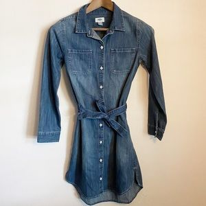 Old Navy Denim Button Down Shirt Dress w/ …